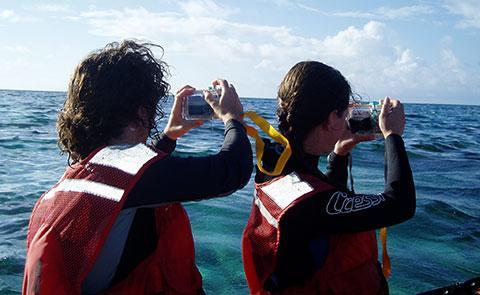 Taking photos from a skiff at Kure Atoll
