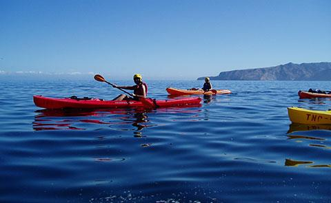Kayaking at the Channel Islands.