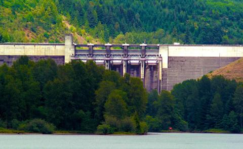 Dam structure from the lakeLookout Point Dam