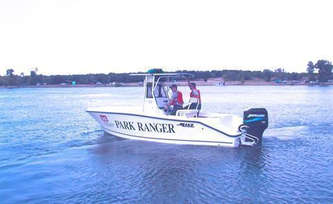 Whitney Lake Park RangerPark Rangers on boat patrol
