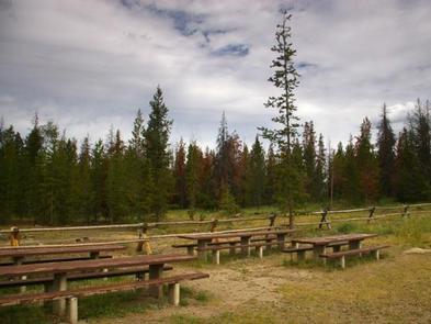 New Fork Lake Group Campgroundpicnic table setup