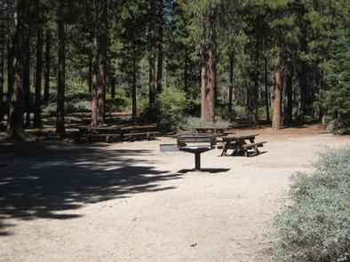 Boulder Group Campground picnic tables and barbecue grill