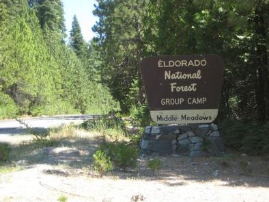 MIDDLE MEADOWS Group Campground Entrance Sign.Entrance sign from the 17N02 Road.
