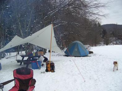 Winter camping fun at Willow Bay