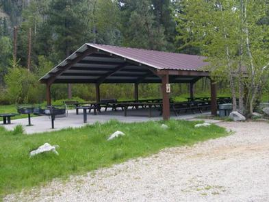 This is one of two large-group pavillions that can accommodate up to 100 people with picnic tables and cement site pads.Elks Flat Campground