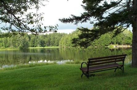 Hapgood Pond with picnic table in foregroundHapgood Pond