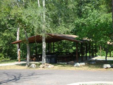 Group Shelter showing picnic tables and grillsThe groups shelter is well equipped for large groups.