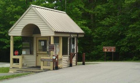BANDY CREEKEntrance station of the Bandy Creek Campground with a drive-thru window.