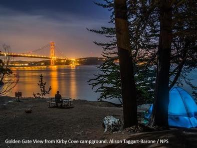 Kirby Cove at night, with the Golden Gate Bridge lit up across the bay. Kirby Cove on a clear night offers a magical view of the famous bridge and the City by the Bay.