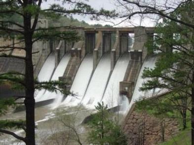 Nimrod DamNimrod Dam with water going through the spillway.