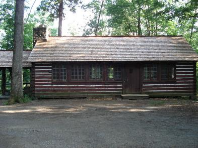 American chestnut lodge #23 with two picnic tables, and outdoor grill/firepit surrounded by trees.