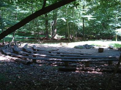 Large fire ring with in-ground wooden benches set in a circular pattern.  Dense trees surround the fire ring. A large fire ring located in the upper loop of the campground provides a great place for group activities.