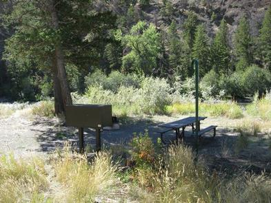 CLEARWATER CAMPGROUND SHADE SITE Picnic table and bear box