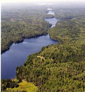 Aerial view of a series of Voyageurs' backcountry lakes flowing into each other, surrounded by forest land. The Locator Chain Of Lakes located in the backcountry of Voyageurs National Park