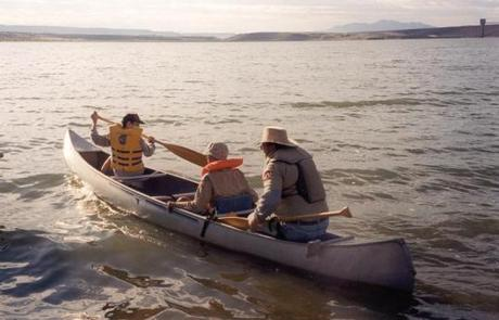 Cochiti Lake 1Teaching kids how to row a canoe