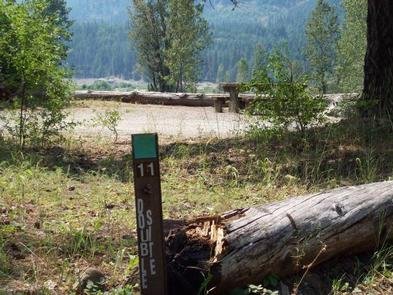 Site marker eleven in foreground; picnic table in a flat gravel area with bushes encircled with log barrier, river valley and conifer covered hills in background.CLE ELUM RIVER GROUP SITE