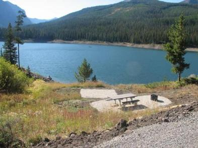 Hood Creek Campground campsite with view of Hyalite Reservoir & mountainsHyalite Reservoir