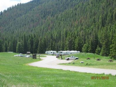 Moose Creek Flat Campground, RV's, vehicles & vault toiletsMoose Creek Flat Campground