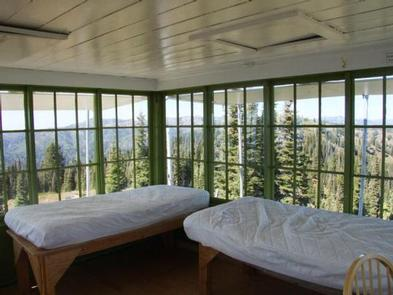 DEADWOOD LOOKOUT REC CABIN--bedsInterior of cabin