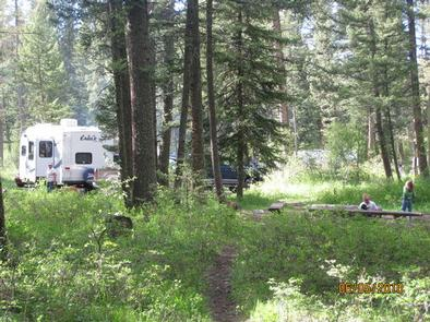 Campsite surrounded by pine trees,  picnic table & fire ring, children playing & RVCampsite