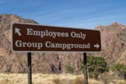 Sign on roadway leading to the Group Campground