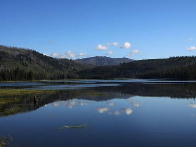 Upper Payette Lake on a calm morning.A calm morning on Upper Payette Lake.