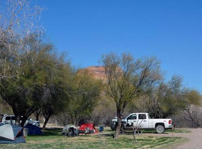 Tent set up in tree-lined campground