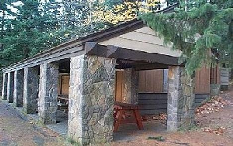 Picnic shelter with stone pillars.EAGLE CREEK OVERLOOK GRP SITE