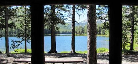 TWIN LAKES CABIN (MT)A view from the porch of the Twin Lakes cabin.