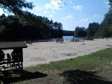 BUFFUMVILLE LAKE (GROUP SHELTERS)Swimming beach, pirate ship play spot, and life jacket loaner station