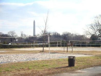 Parkway Drive-Volleyball Courts with Washington MonumentParkway Drive-Volleyball Courts with Washington Monument in the Background