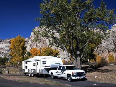 Large RV in Split Mountain Campground.