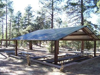 GROOM CREEK HORSE CAMP group shelter with 5 large table and 2 barbecues is the rear on the left sideGroom Creek Group Picnic Site