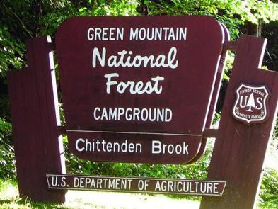 CHITTENDEN BROOK CAMPGROUND SignCampground entrance on Rte 73