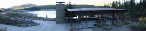 Hyalite Pavilion, fireplace, picnic tables, fire ring, grill & pine treesHyalite Pavilion