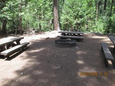 Camp Unit 1 with picnic tables and group fire ring.Camp unit 1 fire ring.
