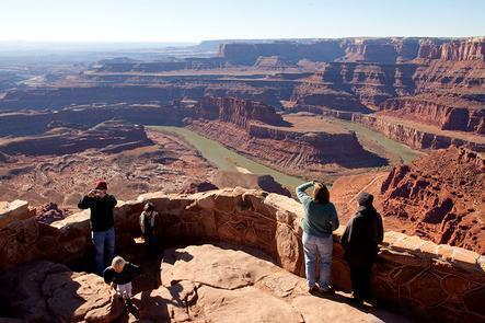 Family at Dead Horse PointMany visitors find Dead Horse Point State Park to be even more captivating than the views at the Grand Canyon.