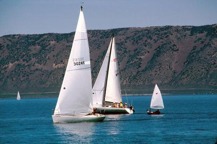 """Bear Lake State ParkThe vibrant waters have led some people to call Bear Lake the """"Caribbean of the Rockies,"""" especially apt during the warm summer winds."""