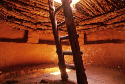 The Restored KivaThe popular excavated and restored kiva (a partially subterranean ceremonial room within a pueblo) at Edge of the Cedars.