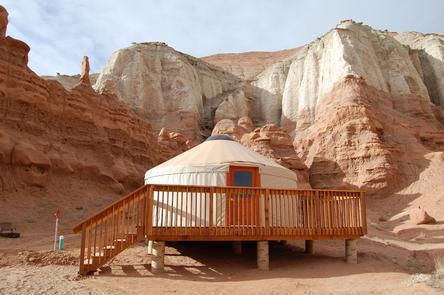 Reservable Yurt at Goblin ValleyThere's a campground at Goblin Valley, or consider reserving one of two yurts — heated and cooled — modeled after traditional nomadic tent dwellings of Central Asia.