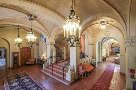 Julia Morgan's Little CastleFamed features such as the leaded glass windows, exquisite courtyards, and impressive indoor pool were added in 1930.