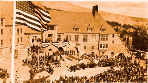 President Roosevelt and the WPAOn September 28, 1937, five months before its public opening, Timberline Lodge was greeted by President Roosevelt, the First Lady, and other dignitaries. Welcomed by twelve hundred community members, President Roosevelt dedicated Timberline Lodge and saluted the dedication and efforts of the joint venture between the Works Progress Administration and local citizens.
