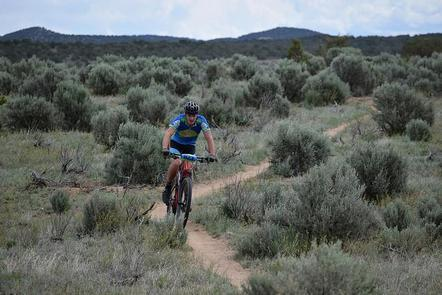 Mountain Biker on the Alien Run Trail