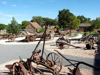 The Museum GroundsMuseum displays include a large collection of horse-drawn farm equipment and pioneer artifacts.