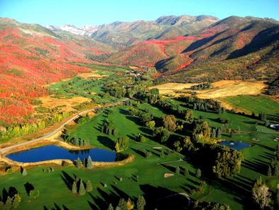Fall Aerial of Wasatch MountainReserve a tee time at one of the four popular 18-hole golf courses.