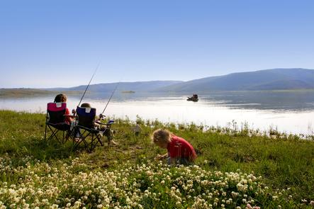 High-Elevation Family AnglingSummer activities include fishing, camping, hiking, and swimming at this 2,800-acre reservoir at an elevation of 7,616 feet.