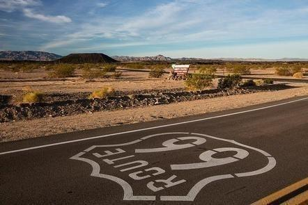 Route 66 in front of Amboy Crater