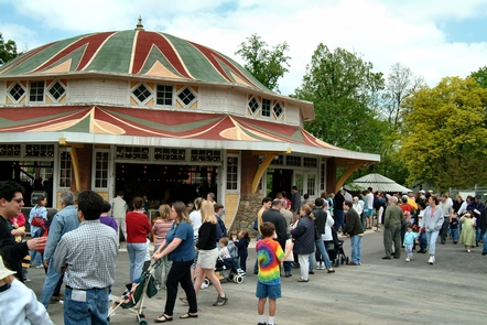 Busy Day outside CarouselGlen Echo Park and the Dentzel Carousel are enjoyed by children and adults.