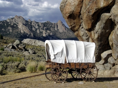 Wagon at Register Rock in City of Rocks National Reserve
