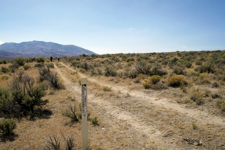 Trail ruts on through Humboldt Wells in Nevada